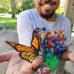 Butterfly displayed on young mans hand